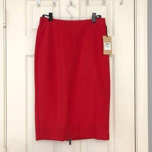"Halogen Ponte Pencil Skirt Red Size 0 25"" BNWT"